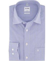 olymp luxor comfort fit overhemd blauw/wit ruit strijkvrij