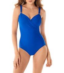women's miraclesuit razzle dazzle siren one-piece swimsuit, size 14 - blue