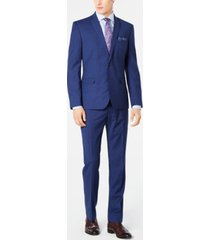 nick graham men's slim-fit stretch bright blue check suit