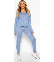 gebreide top & leggings lounge set, marineblauw