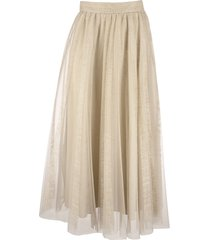 brunello cucinelli tulle volume skirt with raw stripe embroidery