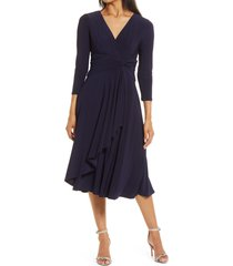 women's eliza j long sleeve faux wrap dress, size 2 - blue