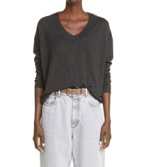 women's brunello cucinelli monili cashmere & silk sweater, size medium - black