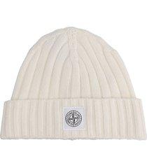 stone island hats in white wool