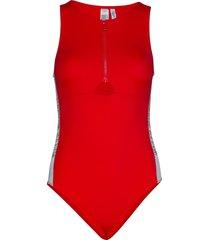 front zip piece baddräkt badkläder röd calvin klein