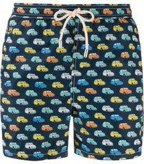 mc2 saint barth vintage car print swim shorts - azul