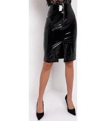 akira hot to go zip front patent faux leather midi skirt