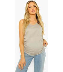 zwangerschap geribbeld geplooid hemdje, grey