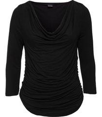 maglia con maniche a 3/4 scollo a cascata (nero) - bodyflirt
