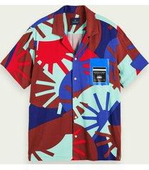 scotch & soda lichtgewicht overhemd met print en korte mouwen