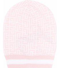 balmain woman monogram beanie in pink and white wool