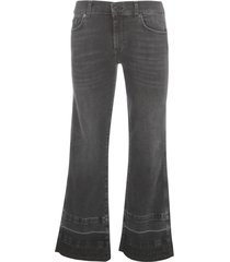 cropped jeans fringes