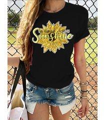 camiseta con estampado de letras de girasol cuello camiseta de manga corta