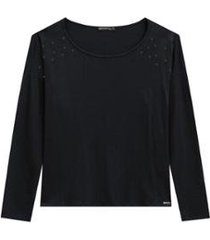 blusa alenice plus size manga longa com pérolas feminina - feminino