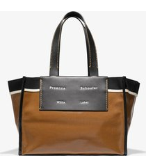 proenza schouler white label large morris coated canvas tote tobacco/brown one size