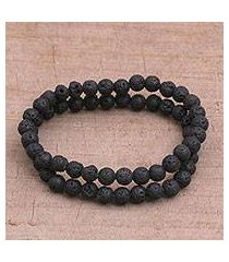 lava stone beaded stretch bracelets, 'moon circles' (pair) (indonesia)
