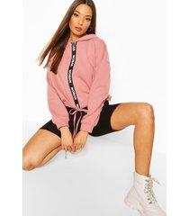 oversized taping zip up drawstring hoodie, pink