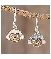 sterling silver dangle earrings, 'white-faced capuchin' (costa rica)
