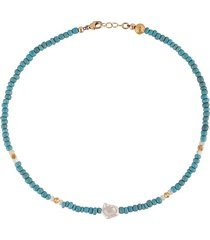 nialaya jewelry short seedbead necklace - blue