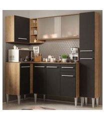 cozinha completa de canto madesa emilly face com balcão e armário vidro miniboreal rustic/preto rustic/preto