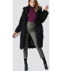 na-kd faux fur long jacket - black