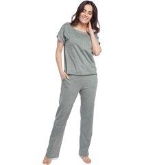 pijama feminino manga curta com bolso verde mint - verde - feminino - algodã£o - dafiti