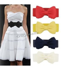 fashion women lady  elastic bow wide stretch buckle waistband waist belt
