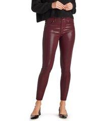 women's sam edelman the stiletto coated high waist raw hem ankle skinny jeans, size 31 - burgundy