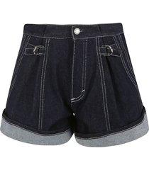 chloé oversized denim buttoned shorts