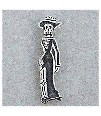 sterling silver brooch pendant, 'catrina chic' (mexico)