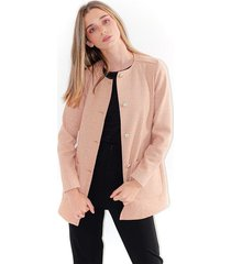 chaqueta para mujer color palo de rosa, manga larga, botones y bolsillos frontales color-rosa-mag-talla-l