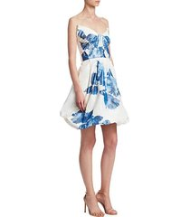floral-print drape bodice silk cocktail dress
