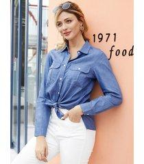 blusa de manga larga con cuello clásico y diseño de botones azules de yoins