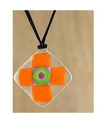 art glass pendant necklace, 'tangerine cross' (thailand)