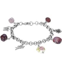 2028 women's silver tone purple bead angel flower heart charm chain bracelet