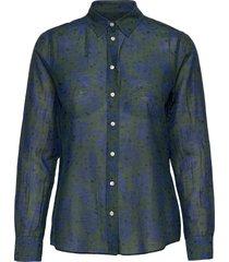 d2. fall flower cot slik shirt långärmad skjorta grön gant