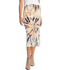 free people women's bali serious swagger tie dye velvet midi pencil skirt - spice combo - size xs
