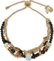 lucky brand two-tone paddle charm & bead layered slider bracelet