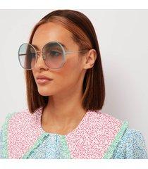 chloé women's irene oversized round sunglasses - blue/green