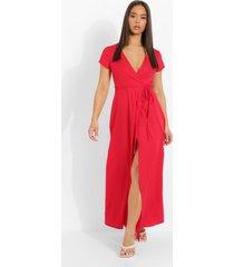 maxi wikkel jurk met laag uitgesneden decolleté en strik, red
