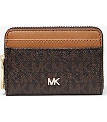 mk portafoglio piccolo in pelle con logo - marrone - michael kors