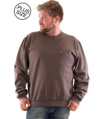 blusão konciny básico de moletom plus size marrom claro