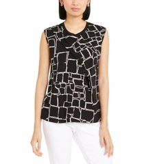 alfani printed pleat-front sleeveless top, created for macy's
