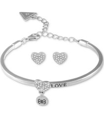 guess silver-tone crystal heart bangle bracelet & stud earrings set