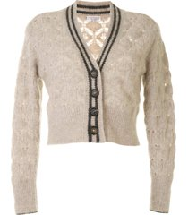 brunello cucinelli cropped crochet cardigan - brown