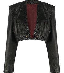 a.n.g.e.l.o. vintage cult 1980s leather bolero jacket - black