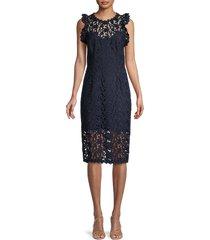 halston heritage women's lace illusion-neck dress - dark navy - size 4