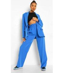 baggy wide leg broek met geplooide taille, bright blue