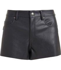 shorts john john boy rock couro fake preto feminino (preto, 50)