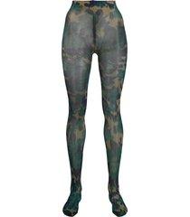 richard quinn camouflage pattern tights - blue